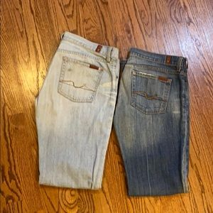7 for All ManKind Jeans bright wash and stone wash